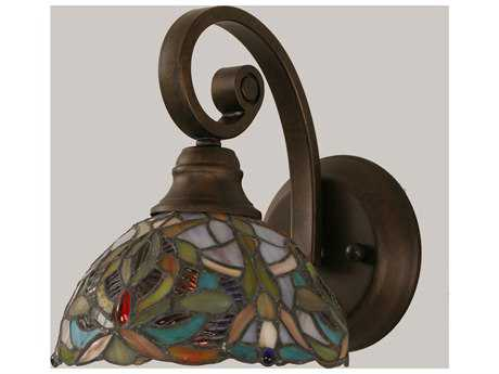 Toltec Lighting Curl Bronze & Kaleidoscope Mini Tiffany Glass Wall Sconce
