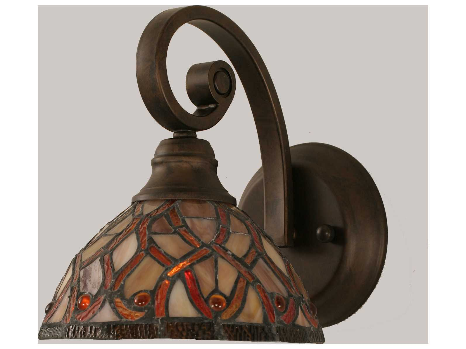 Toltec Lighting Curl Bronze & Persian Nites Mini Tiffany Glass Wall Sconce TOL151BRZ9915