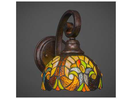 Toltec Lighting Curl Bronze with Ivory Cypress Tiffany Glass Wall Sconce