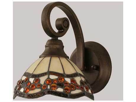 Toltec Lighting Curl Bronze & Roman Jewel Mini Tiffany Glass Wall Sconce