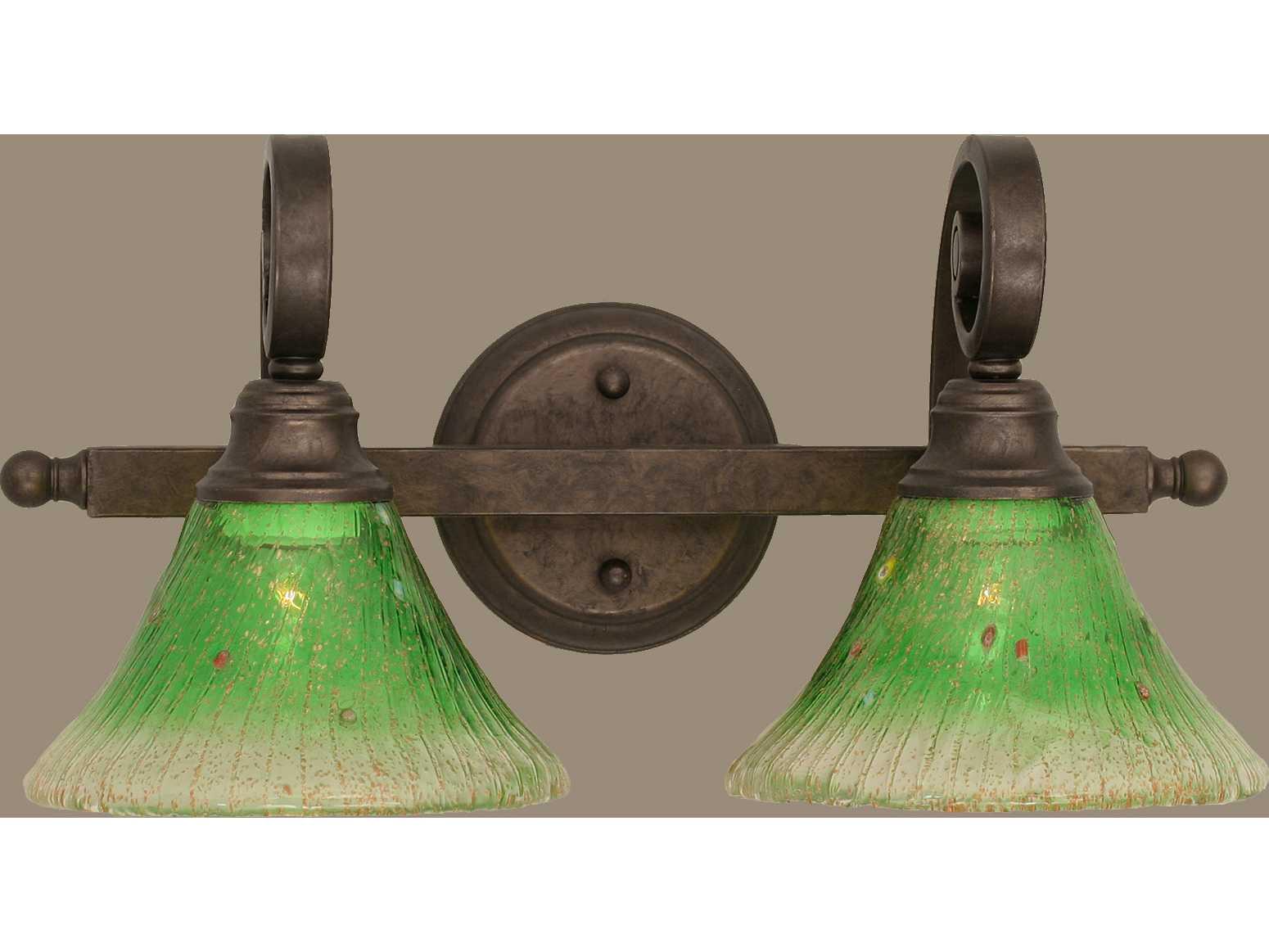 Toltec Lighting Curl Bronze & Kiwi Green Crystal Glass Two-Light Vanity Light TOL152BRZ753