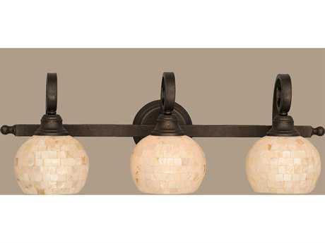 Toltec Lighting Curl Bronze & Seashell Glass Three-Light Vanity Light
