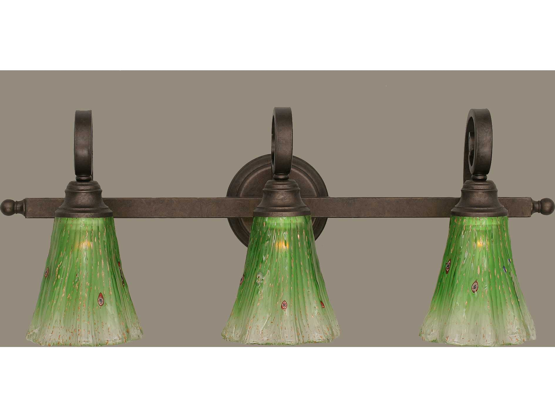 Toltec Lighting Curl Bronze & Kiwi Green Crystal Glass Three-Light Vanity Light TOL153BRZ723
