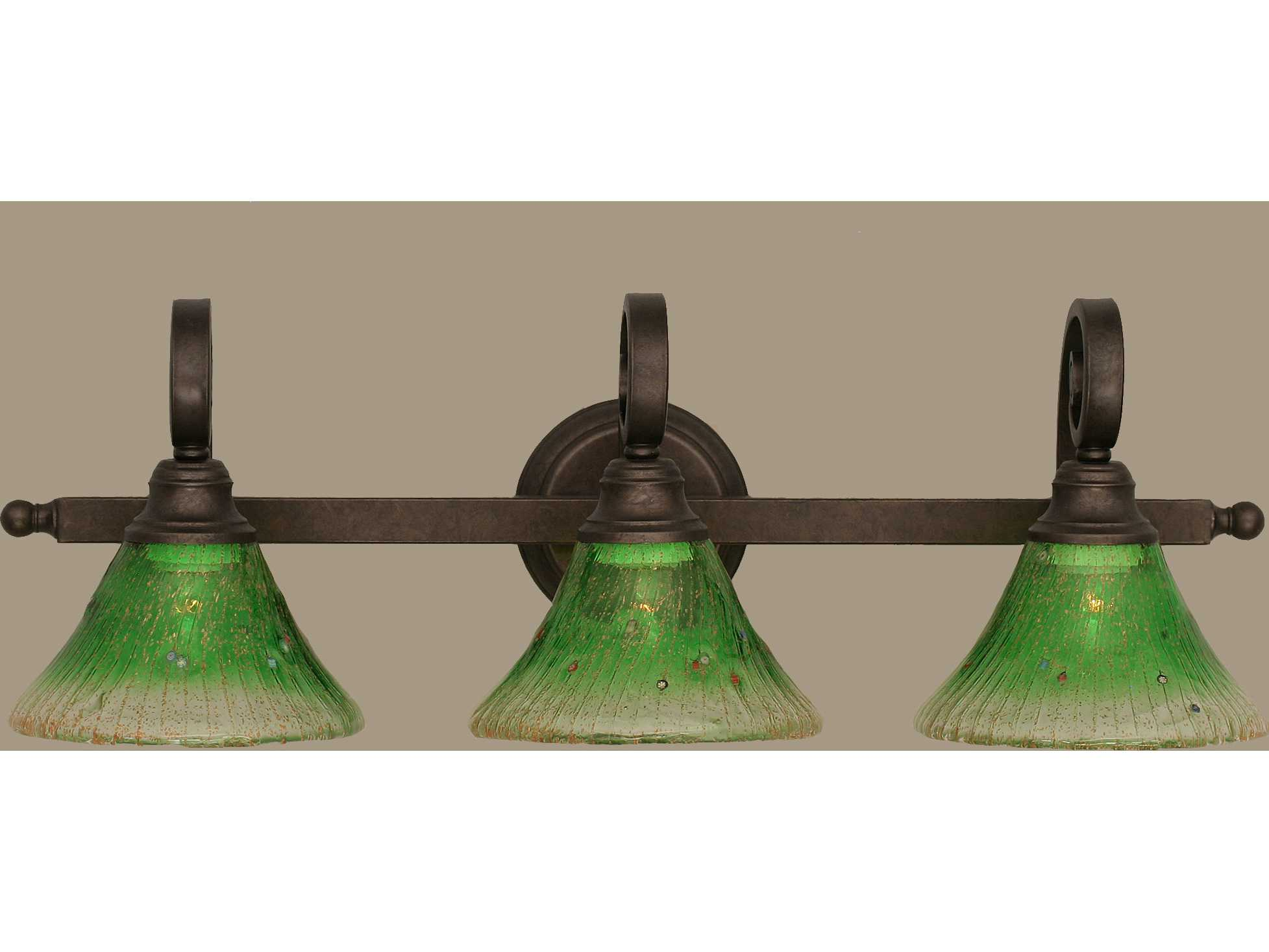 Toltec Lighting Curl Bronze & Kiwi Green Crystal Glass Three-Light Vanity Light TOL153BRZ753