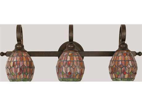 Toltec Lighting Curl Bronze & Rosetta Mini Tiffany Glass Three-Light Vanity Light