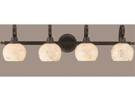 Toltec Lighting Curl Bronze & Seashell Glass Four-Light Vanity Light
