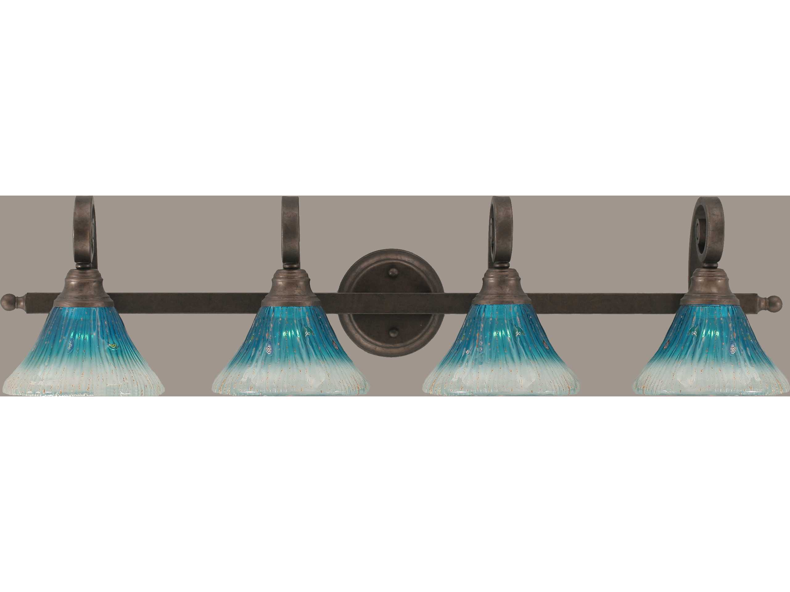 Vanity Lights Cyber Monday : Toltec Lighting Curl Bronze & Teal Crystal Glass Four-Light Vanity Light TOL154BRZ458