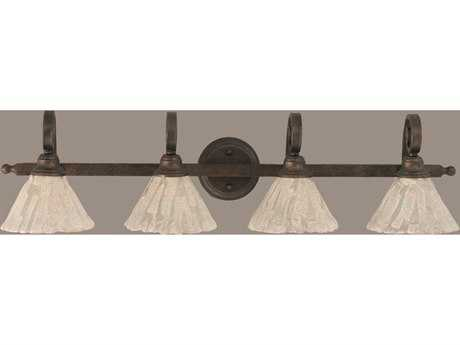 Toltec Lighting Curl Bronze & Italian Ice Glass Four-Light Vanity Light