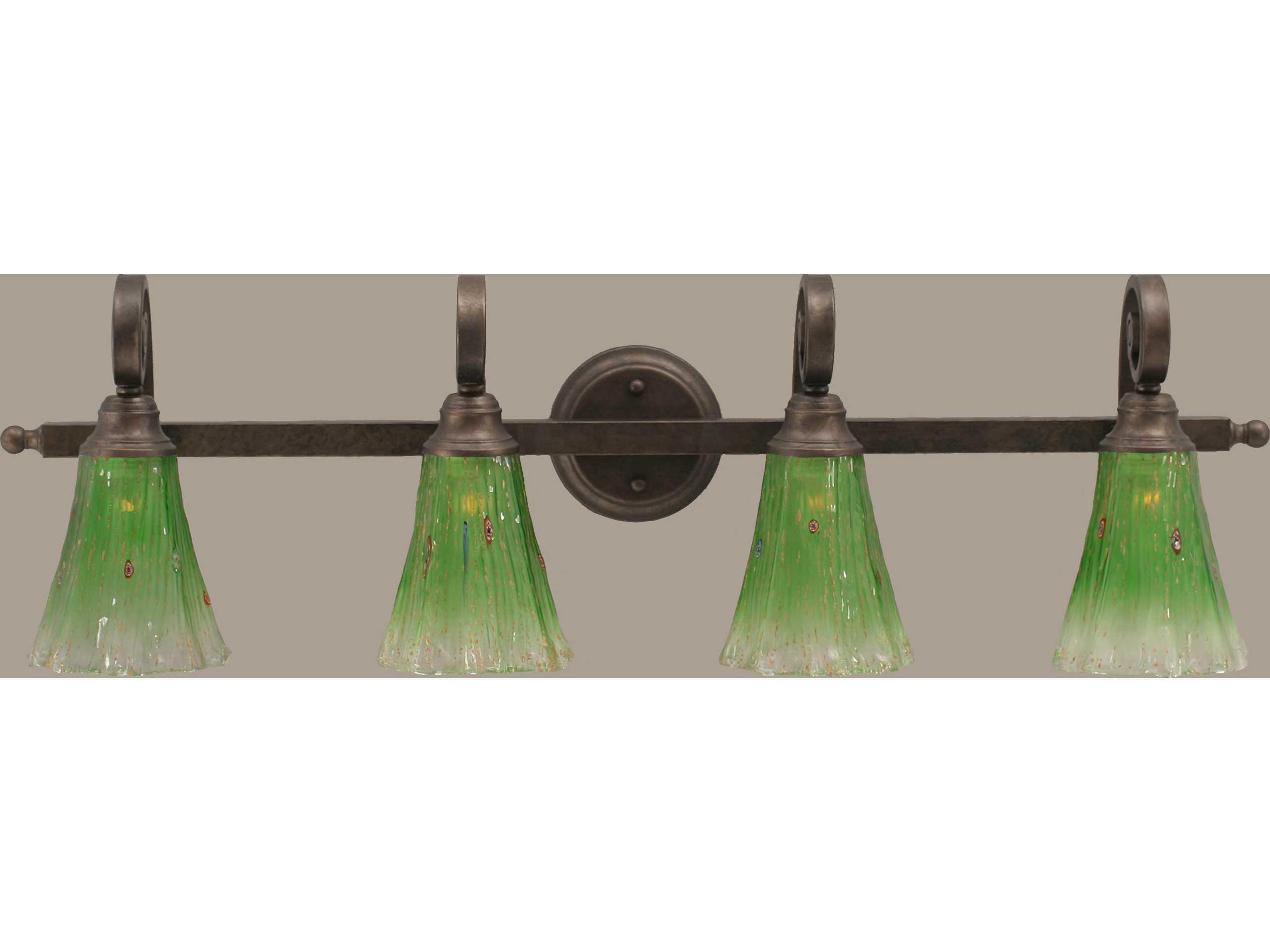 Toltec Lighting Curl Bronze & Kiwi Green Crystal Glass Four-Light Vanity Light TOL154BRZ723