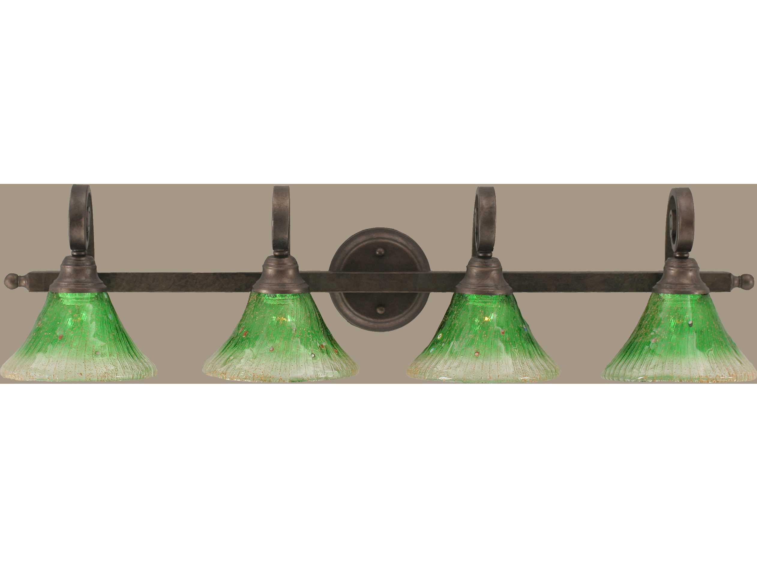 Toltec Lighting Curl Bronze & Kiwi Green Crystal Glass Four-Light Vanity Light TOL154BRZ753