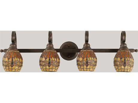 Toltec Lighting Curl Bronze & Amber Dragonfly Mini Tiffany Glass Four-Light Vanity Light