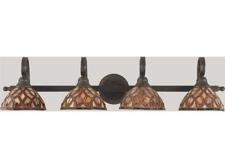 Toltec Lighting Curl Bronze & Persian Nites Mini Tiffany Glass Four-Light Vanity Light
