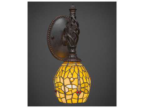 Toltec Lighting Elegante Dark Granite with Amber Dragonfly Wall Sconce