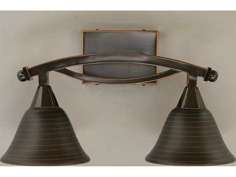 Toltec Lighting Bow Black Copper & Charcoal Spiral Glass Two-Light Vanity Light