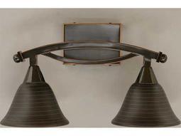 Toltec Lighting Bow Black Copper & Charcoal Spiral Glass Two-Light Vanity Light