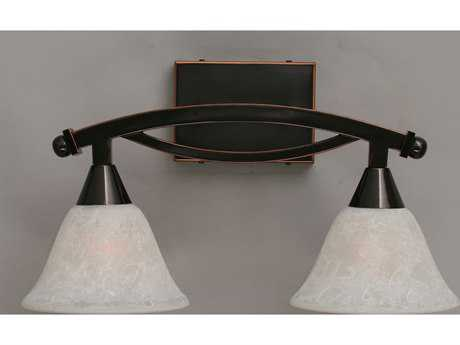 Toltec Lighting Bow Black Copper & White Marble Glass Two-Light Vanity Light