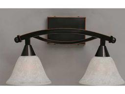 Toltec Lighting Bow Black Copper & White Marble Glass Two-Light Vanity Light
