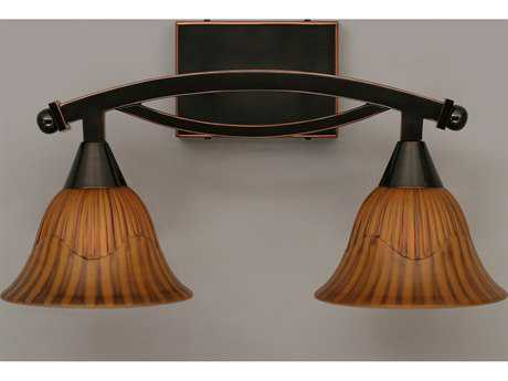 Toltec Lighting Bow Black Copper & Tiger Glass Two-Light Vanity Light