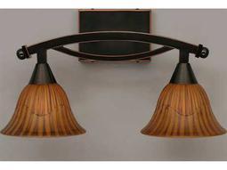 Toltec Lighting Bow Black Copper & Tiger Glass Two-Light Vanity Light