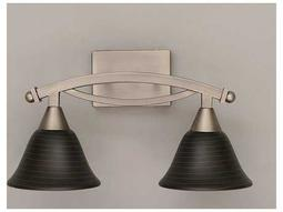 Toltec Lighting Bow Brushed Nickel & Charcoal Spiral Glass Two-Light Vanity Light