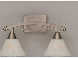 Toltec Lighting Bow Brushed Nickel & White Marble Glass Two-Light Vanity Light