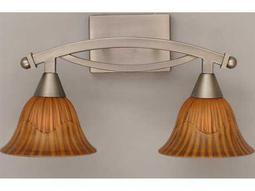 Toltec Lighting Bow Brushed Nickel & Tiger Glass Two-Light Vanity Light