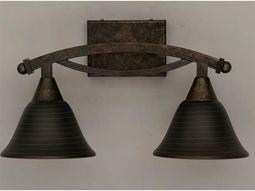 Toltec Lighting Bow Bronze & Charcoal Spiral Glass Two-Light Vanity Light