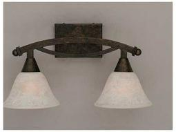 Toltec Lighting Bow Bronze & White Marble Glass Two-Light Vanity Light
