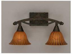 Toltec Lighting Bow Bronze & Tiger Glass Two-Light Vanity Light