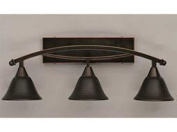 Toltec Lighting Bow Black Copper & Charcoal Spiral Glass Three-Light Vanity Light
