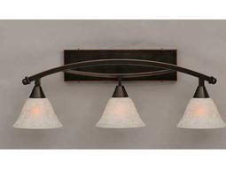 Toltec Lighting Bow Black Copper & White Marble Glass Three-Light Vanity Light