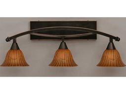 Toltec Lighting Bow Black Copper & Tiger Glass Three-Light Vanity Light
