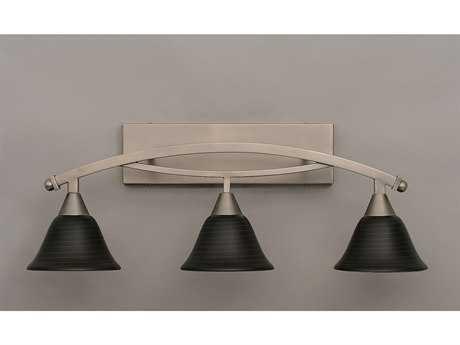 Toltec Lighting Bow Brushed Nickel & Charcoal Spiral Glass Three-Light Vanity Light