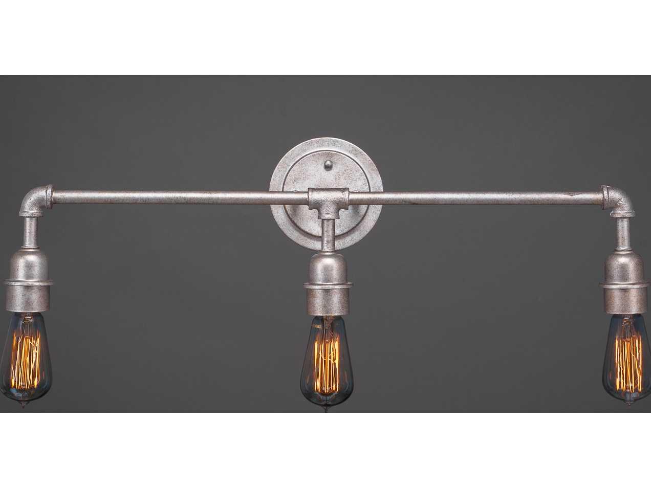 Vanity Lights Retro : Toltec Lighting Vintage Aged Silver Three-Light Vanity Light TOL183ASST18