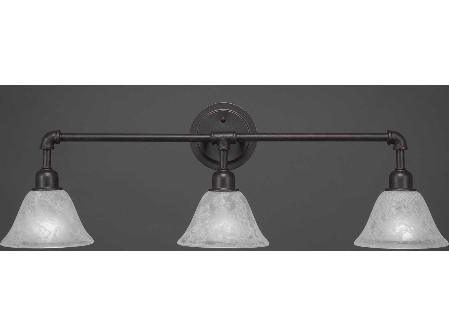 Toltec Lighting Vintage Dark Granite with White Marble Glass Three-Light Vanity Light TOL183DG505