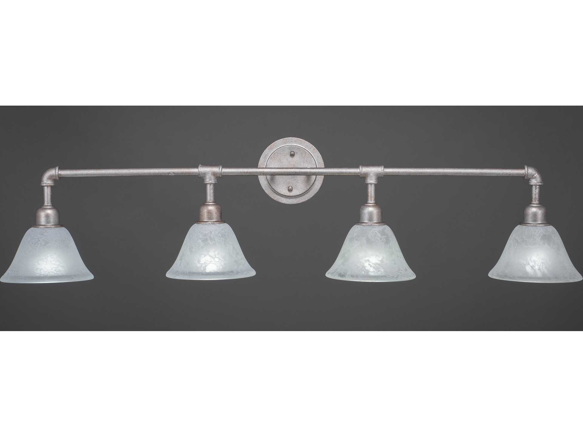 Toltec Lighting Vintage Aged Silver with White Marble Glass Four-Light Vanity Light TOL184AS505