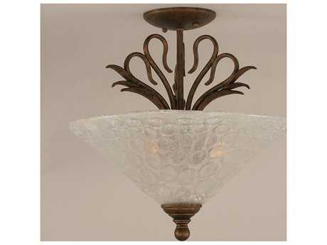Toltec Lighting Swan Bronze & Italian Bubble Glass Three-Light Semi-Flush Mount Light
