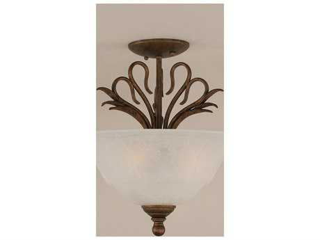 Toltec Lighting Swan Bronze & White Marble Glass Three-Light Semi-Flush Mount Light