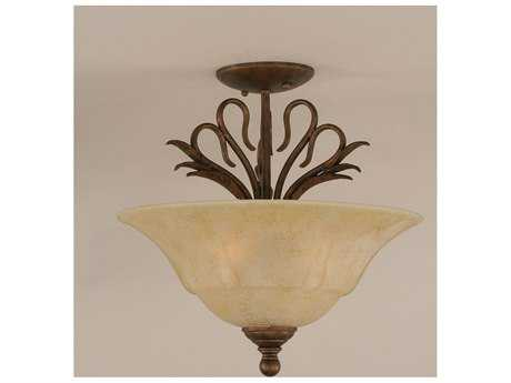 Toltec Lighting Swan Bronze & Italian Marble Glass Three-Light Semi-Flush Mount Light