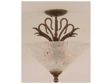 Toltec Lighting Swan Bronze & Frosted Crystal Glass Three-Light Semi-Flush Mount Light