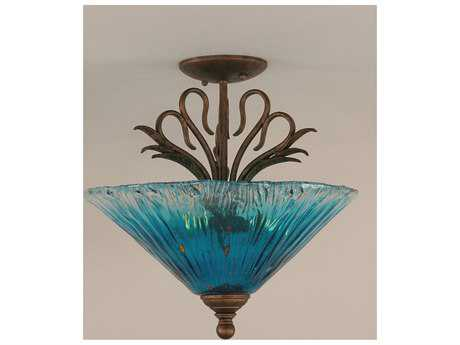 Toltec Lighting Swan Bronze & Teal Crystal Glass Three-Light Semi-Flush Mount Light