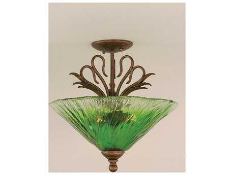 Toltec Lighting Swan Bronze & Kiwi Green Crystal Glass Three-Light Semi-Flush Mount Light