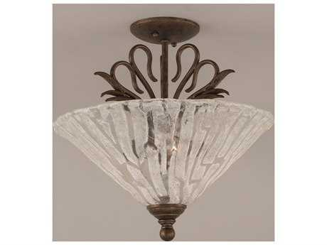 Toltec Lighting Swan Bronze & Italian Ice Glass Three-Light Semi-Flush Mount Light