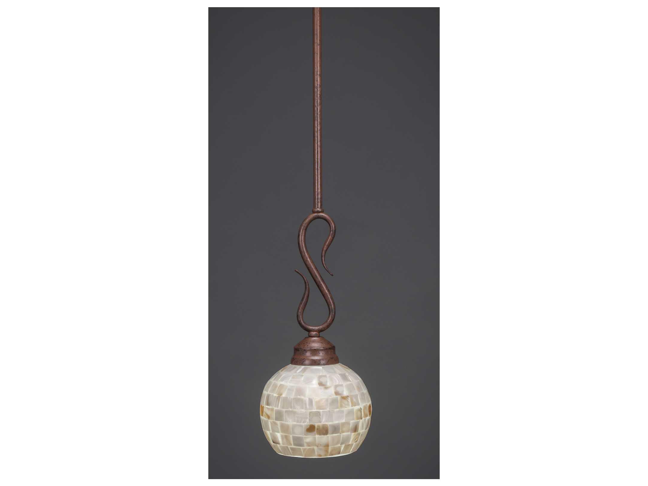 toltec lighting swan bronze seashell glass pendant