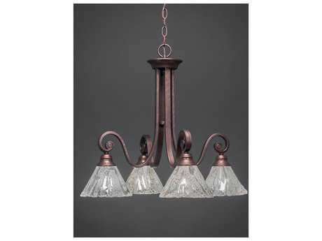 Toltec Lighting Curl Bronze & Italian Ice Glass Four-Light 24.5'' Wide Chandelier