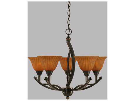 Toltec Lighting Bow Black Copper & Tiger Glass Five-Light 22.75'' Wide Mini-Chandelier