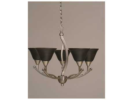 Toltec Lighting Bow Brushed Nickel & Charcoal Spiral Glass Five-Light 23.5'' Wide Mini-Chandelier