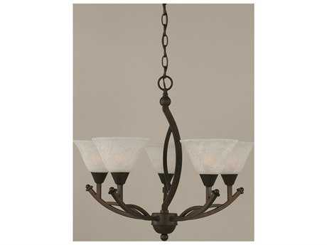 Toltec Lighting Bow Bronze & White Marble Glass Five-Light 22'' Wide Mini-Chandelier