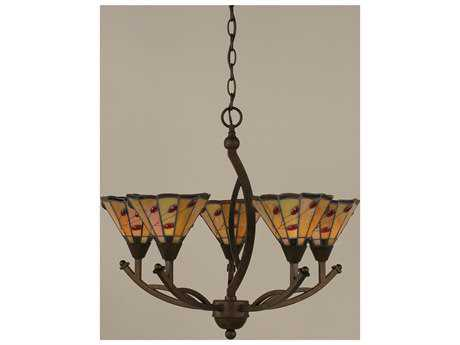Toltec Lighting Bow Bronze & Autumn Leaves Mini Tiffany Glass Five-Light 22.5'' Wide Mini-Chandelier