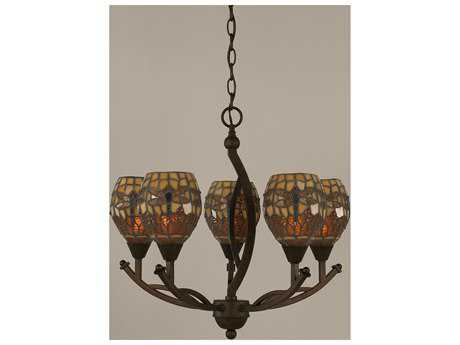 Toltec Lighting Bow Bronze & Amber Dragonfly Mini Tiffany Glass Five-Light 20.25'' Wide Mini-Chandelier